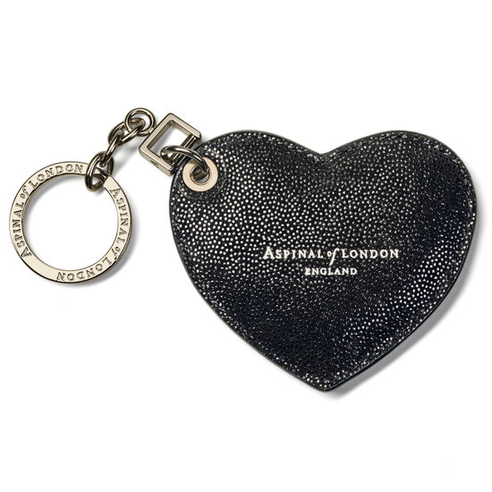 Heart Key Ring in Black Galaxy from Aspinal of London