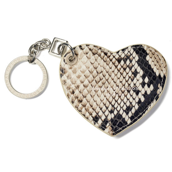Heart Key Ring in Embossed Natural Python Print from Aspinal of London
