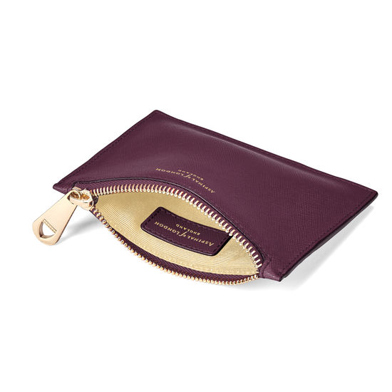 Small Essential Flat Pouch in Grape Saffiano from Aspinal of London