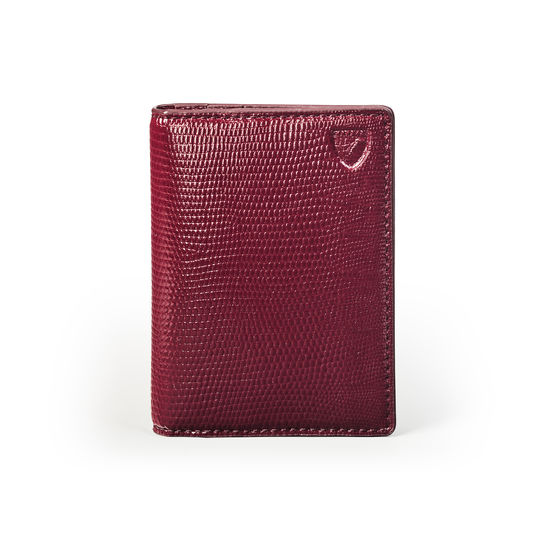 Double Fold Credit Card Holder in Bordeaux Silk Lizard from Aspinal of London