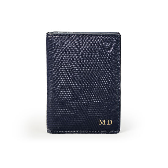 Double Fold Credit Card Holder in Midnight Blue Silk Lizard from Aspinal of London