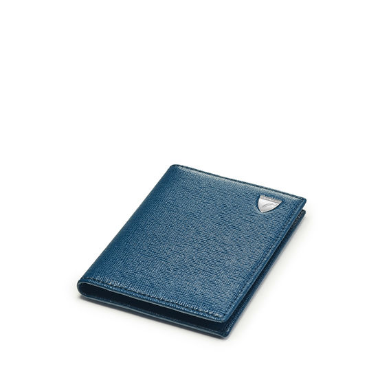 Double Fold Credit Card Holder in Blue Pewter Saffiano from Aspinal of London