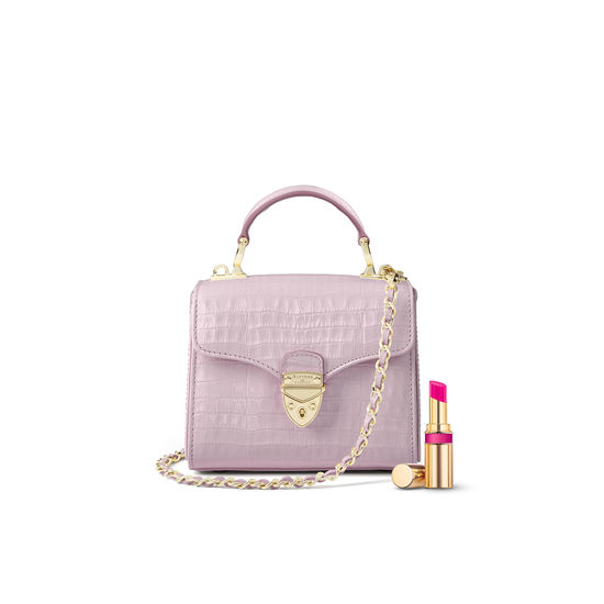 Mini Mayfair Bag in Deep Shine Lilac Small Croc from Aspinal of London