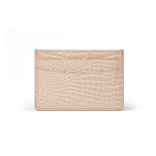 Slim Credit Card Case in Soft Taupe Patent Croc from Aspinal of London