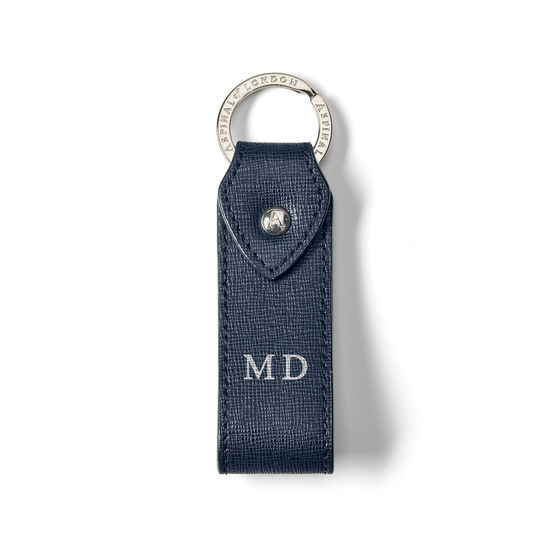 Leather Loop Keyring in Navy Saffiano from Aspinal of London