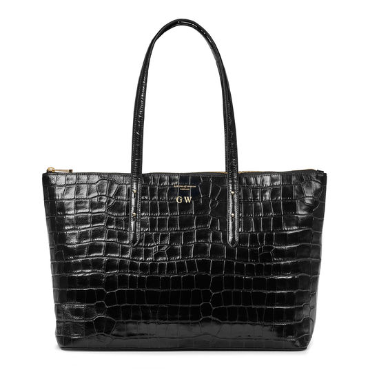 Zipped Regent Tote in Deep Shine Black Croc from Aspinal of London