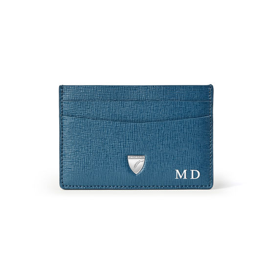Slim Credit Card Holder in Blue Pewter Saffiano from Aspinal of London