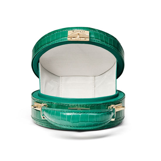Micro Hat Box in Deep Shine Emerald Green Small Croc from Aspinal of London