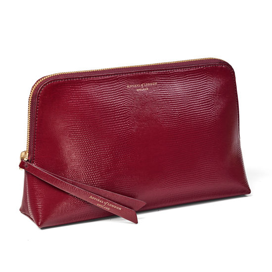 Large Essential Cosmetic Case in Bordeaux Silk Lizard from Aspinal of London