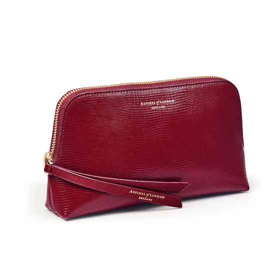 Small Essential Cosmetic Case in Bordeaux Silk Lizard from Aspinal of London