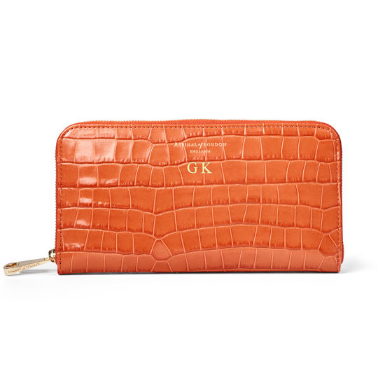 Continental Purse in Deep Shine Marmalade Small Croc from Aspinal of London