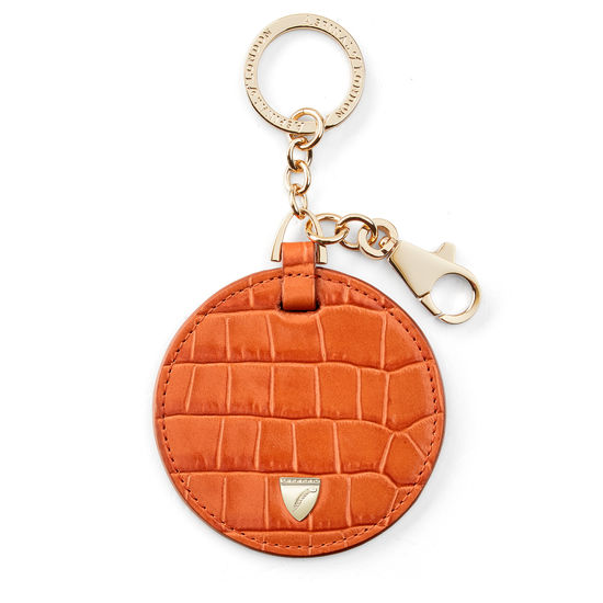 Disk Key Ring in Deep Shine Marmalade Small Croc from Aspinal of London