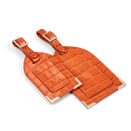 Set of 2 Luggage Tags in Deep Shine Marmalade Small Croc from Aspinal of London