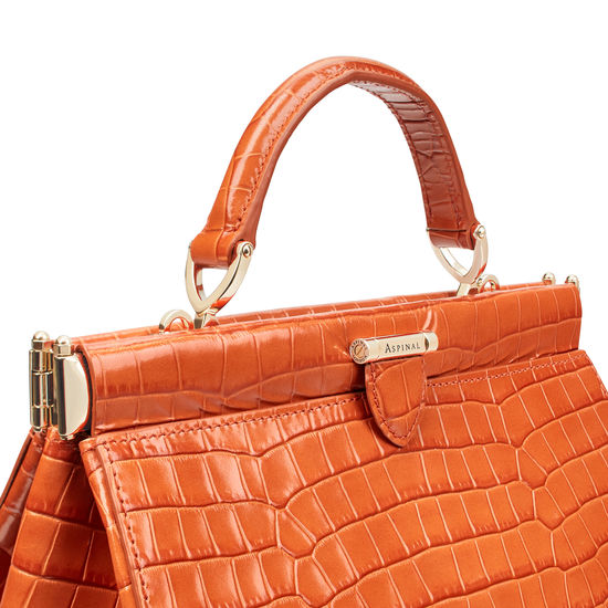Small Florence Frame Bag in Deep Shine Marmalade Small Croc from Aspinal of London