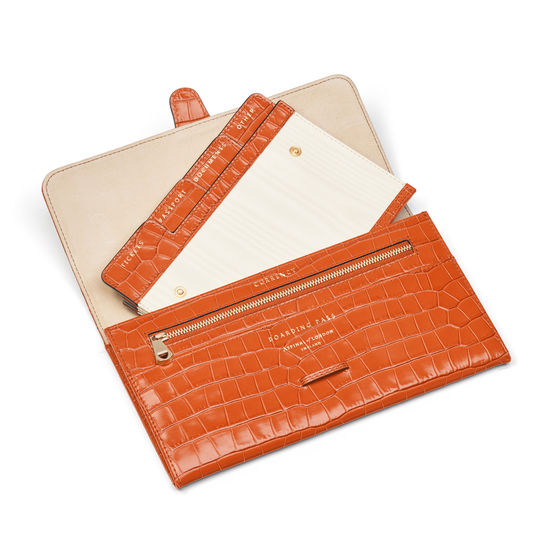 Travel Wallet with Removable Inserts in Deep Shine Marmalade Small Croc from Aspinal of London