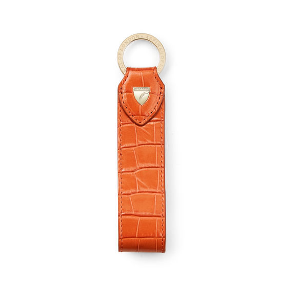 Leather Loop Keyring in Deep Shine Marmalade Small Croc from Aspinal of London