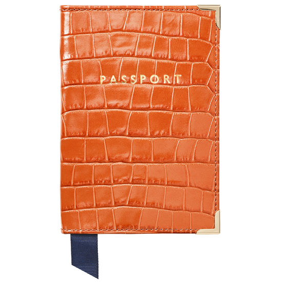 Passport Cover in Deep Shine Marmalade Small Croc from Aspinal of London