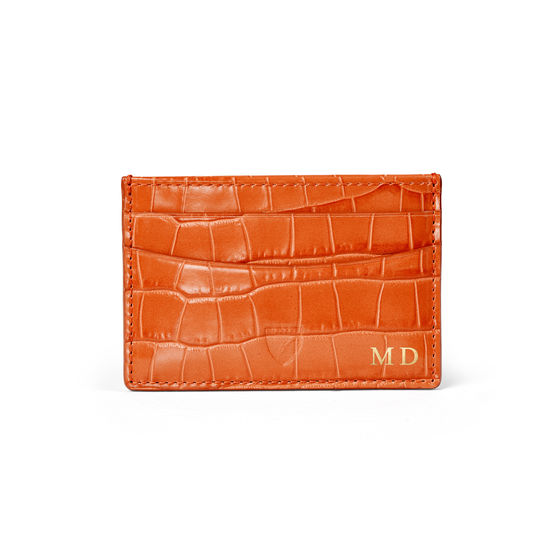 Slim Credit Card Holder in Deep Shine Marmalade Small Croc from Aspinal of London