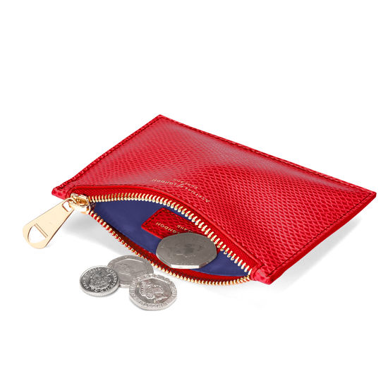 Small Essential Flat Pouch in Berry Lizard from Aspinal of London