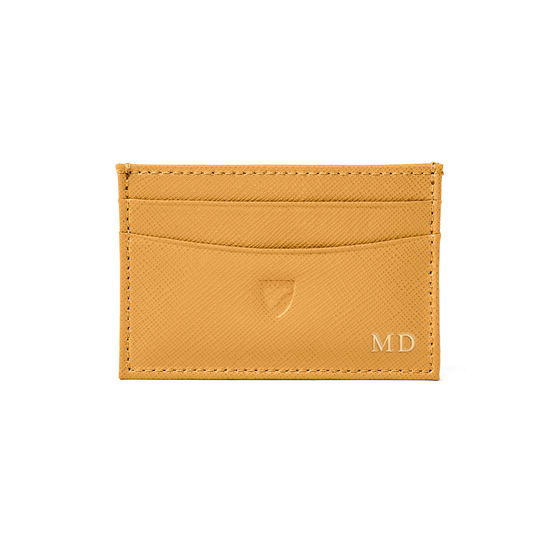 Slim Credit Card Holder in Mustard Saffiano from Aspinal of London