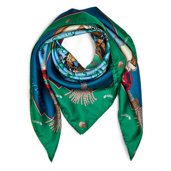 Aspinal Signature Shield Silk Scarf in Petrol Blue & Emerald Green from Aspinal of London