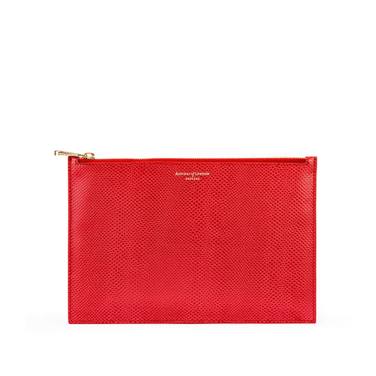 Large Essential Flat Pouch in Berry Lizard from Aspinal of London