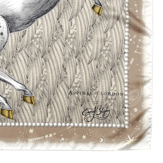Pegasus Feather Silk Twill Scarf in Gold from Aspinal of London