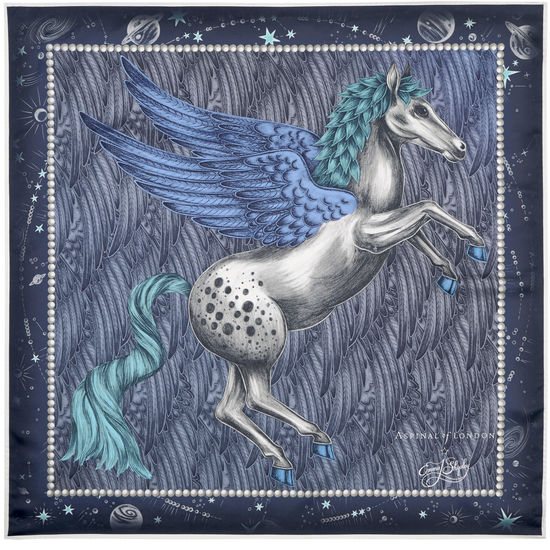 Pegasus Feather Silk Twill Scarf in Midnight Blue from Aspinal of London