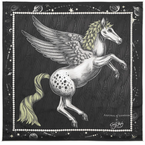 Pegasus Feather Silk Twill Scarf in Monochrome from Aspinal of London