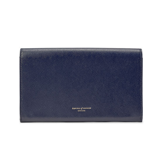 Travel Wallet with Removable Inserts in Navy Saffiano from Aspinal of London