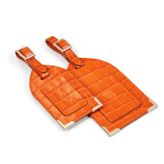 Travel Collection with Removable Inserts in Deep Shine Marmalade Small Croc from Aspinal of London