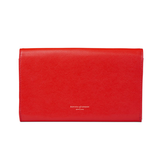 Travel Wallet with Removable Inserts in Scarlet Saffiano from Aspinal of London