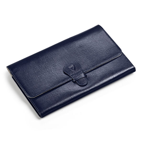 Travel Wallet with Removable Inserts in Midnight Blue Silk Lizard from Aspinal of London