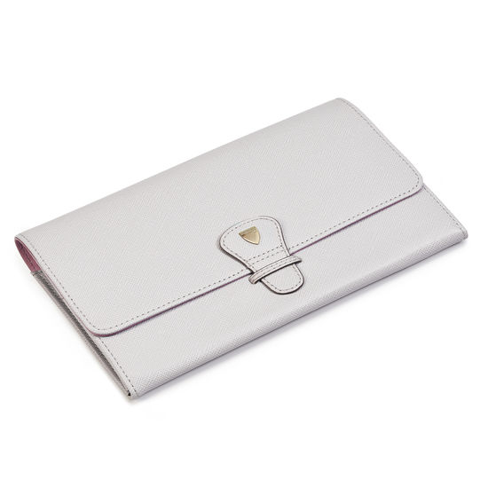 Travel Wallet with Removable Inserts in Light Grey Saffiano from Aspinal of London