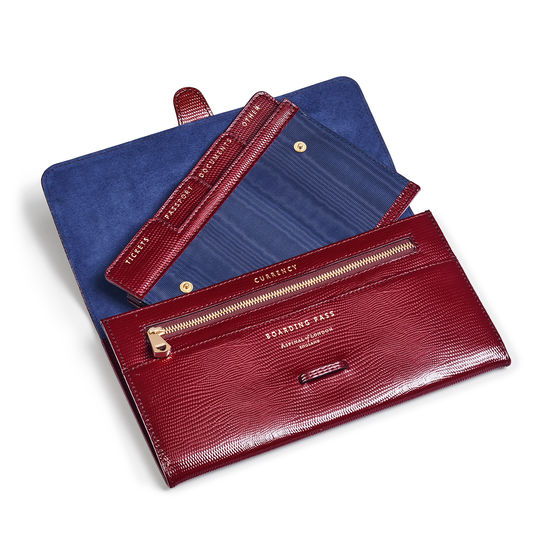 Travel Wallet with Removable Inserts in Bordeaux Silk Lizard from Aspinal of London