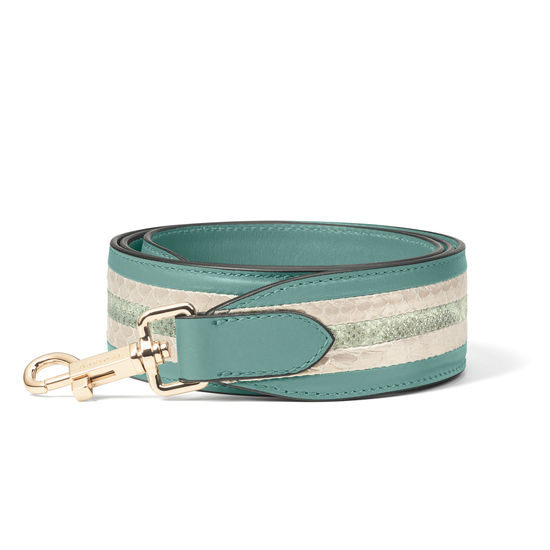 Striped Leather Bag Strap in Smooth Sage Green & Multi Snake from Aspinal of London