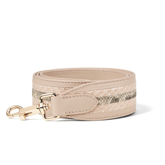 Striped Leather Bag Strap in Smooth Soft Taupe & Multi Snake from Aspinal of London
