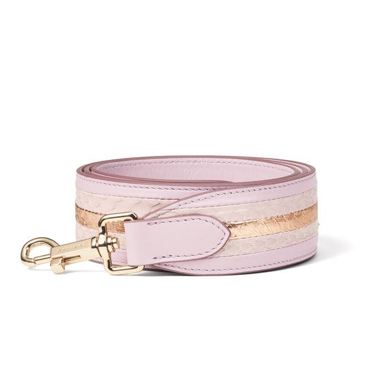 Striped Leather Bag Strap in Smooth Lilac & Multi Snake from Aspinal of London