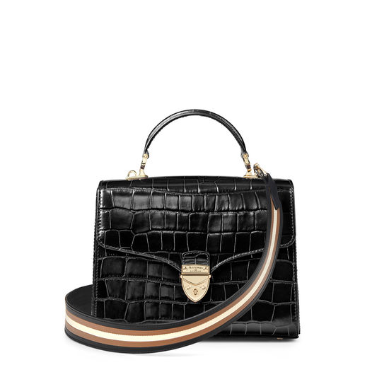 Striped Leather Bag Strap in Smooth Black, Camel & Ivory from Aspinal of London