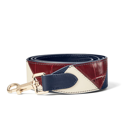 Zig Zag Leather Bag Strap in Smooth Navy, Ivory & Bordeaux Croc from Aspinal of London
