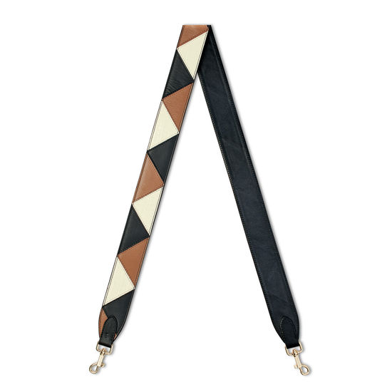 Zig Zag Leather Bag Strap in Smooth Black, Camel & Ivory from Aspinal of London