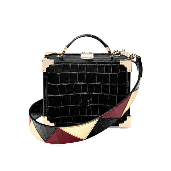 Zig Zag Leather Bag Strap in Black Croc, Cherry & Gold Moire from Aspinal of London