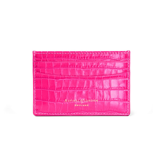 Slim Credit Card Holder in Deep Shine Penelope Pink Small Croc from Aspinal of London