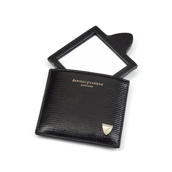 Compact Mirror in Black Silk Lizard from Aspinal of London
