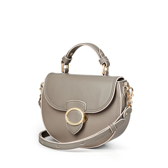 Saddle Bag in Warm Grey Pebble from Aspinal of London
