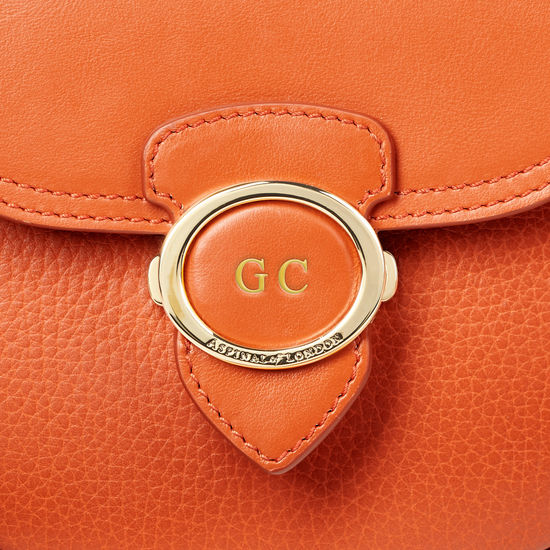 Saddle Bag in Marmalade Pebble from Aspinal of London