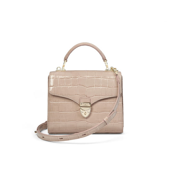 Midi Mayfair Bag in Deep Shine Soft Taupe Croc from Aspinal of London