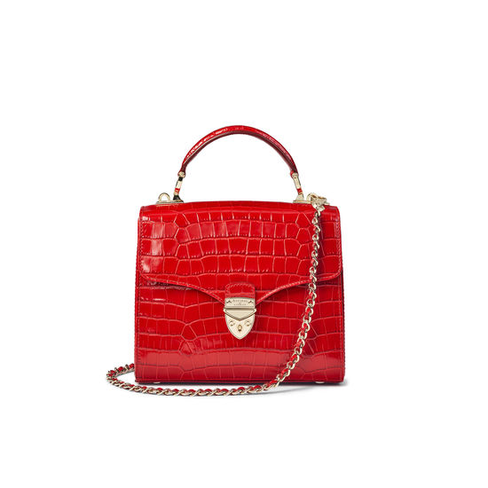Midi Mayfair Bag in Deep Shine Red Small Croc from Aspinal of London