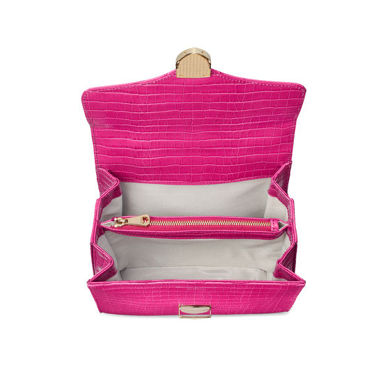 Midi Mayfair Bag in Deep Shine Penelope Pink Small Croc from Aspinal of London