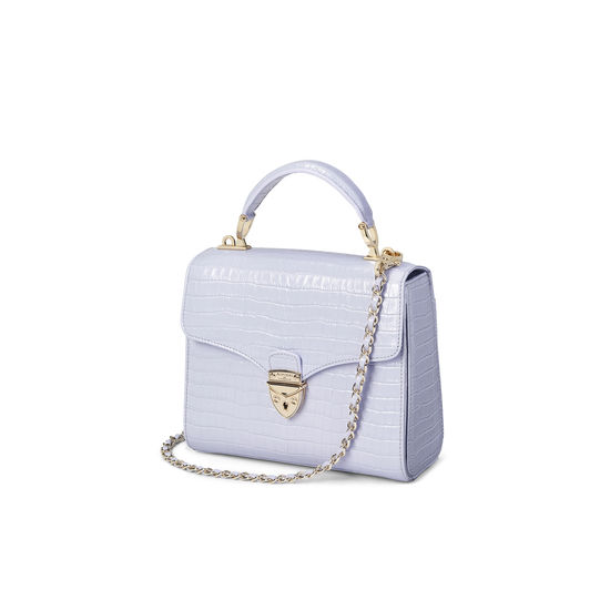 Midi Mayfair Bag in Deep Shine English Lavender Small Croc from Aspinal of London